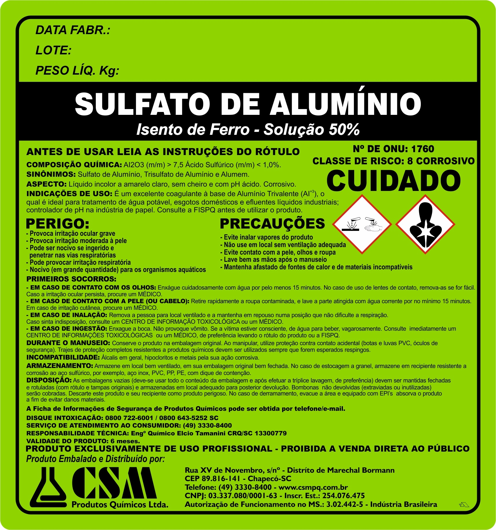 Sulfato de alumino isento de ferro